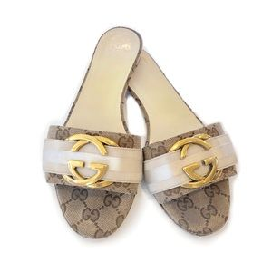 Gucci Slide Sandals Gold Buckle | Size 38